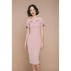 Đầm body hồng trễ vai cao cấp