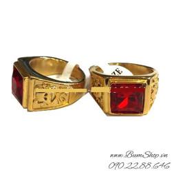 Nhẫn inox khắc đầu lâu đá đỏ
