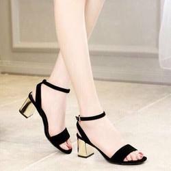 Giày gót vuông viền vàng