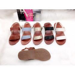 Sandal đế bệt hai quai, chất liệu da bò nữ