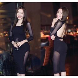 Đầm ôm body kiểu hở lưng pha lưới sexy