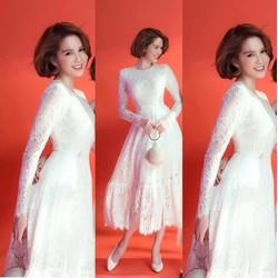 Đầm ren kiểu xòe tay dài dễ thương