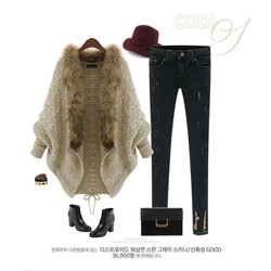 Áo khoác len, phối cổ lông cách điệu cao cấp