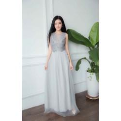 Đầm dạ hội kiểu sát nách phối ren thêu sang trọng