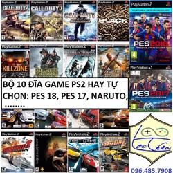 Bộ 10 Đĩa game PS2 hay nhiều thể loại:PES 18,Đấu trường thú,Naruto...