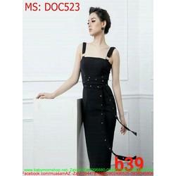 Đầm ôm dự tiệc 2 dây đính hạt sang trọng thời trang DOC523
