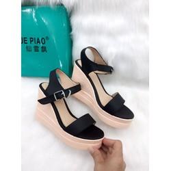 Giày sandal đế xuồng, quai ngang cao 8cm