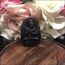 Mặt Dây Chuyền Đại Thế Chí Bồ Tát Đá Obsidian