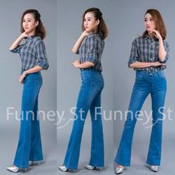 Quần jean loe lưng cao màu xanh biển không wash