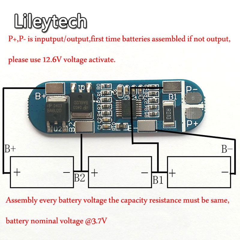 Mạch sạc xả bảo vệ pin lithium 3 cell 13A 2