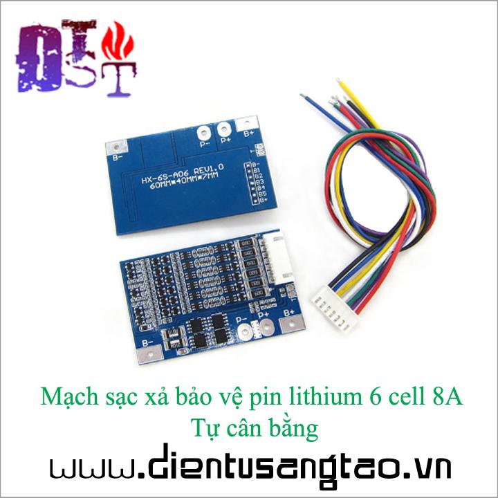 Mạch sạc xả bảo vệ pin lithium 6 cell 8A  Tự cân bằng 2