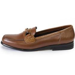 Giày lười công sở  JB-795-n da trơn màu nâu