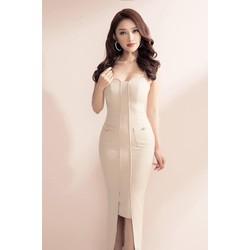 Đầm ôm body kiểu hai dây dài túi đắp
