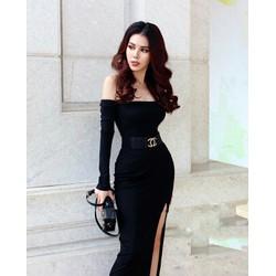 Đầm body dài tay xẻ đùi cao cấp