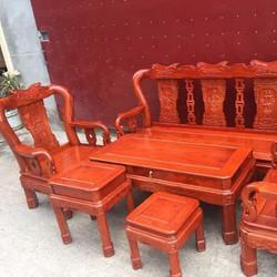 Bộ bàn ghế triện cột 10 gỗ hương đá
