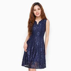 Đầm ren xòe cổ V màu xanh đậm size M