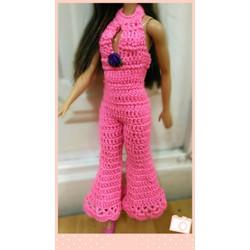 Jumpsuit len Babie màu hồng neon, cổ yếm, ống loe