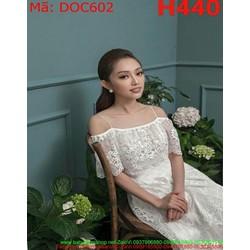 Đầm dự tiệc 2 bẹt vai ngang màu trắng trẻ trung DOC602