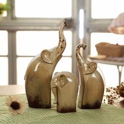 Bộ 3 tượng gốm voi gốm trang trí sân vườn hay phòng khách