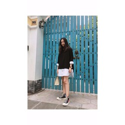 Đầm pha màu trắng - đen