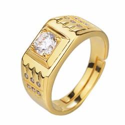 Nhẫn kim cương nam đá thạch Anh MẠ ĐIỆN 18K