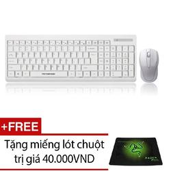 Bộ bàn phím chuột không dây Motospeed G1000 Trắng kèm miếng lót chuột