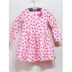 Đầm thun tay dài họa tiết dưa hấu hồng xinh xắn cho bé gái
