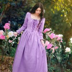 đầm tiểu thư phong cách châu âu vintage tím nhã dịu dàng,thanh cao