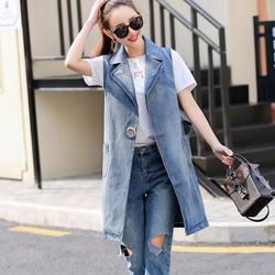 áo khoác ghilê jeans dáng dài Mã: AO3105