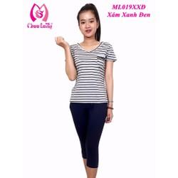 Bộ mặc nhà nữ Sọc cổ tim tay ngắn quần lửng Miss Lathy ML019