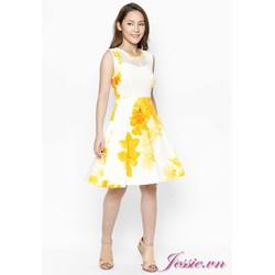 Đầm Xòe Trắng Hoa Vàng Phối Lưới - Jessie Boutique
