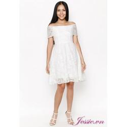 Đầm Xòe Chiffon Trắng Ép Nổi Hoa Hồng - Jessie Boutique