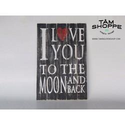 Tranh gỗ Vintage chữ I Love You