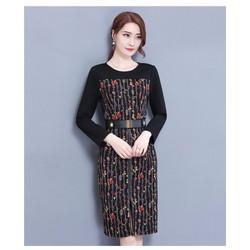 Đầm thun tay dài phối màu kèm belt