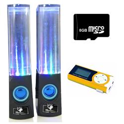 Bộ Loa nhạc nước 3D Đen kèm Máy MP3 LCD Xanh lá và Thẻ 8GB