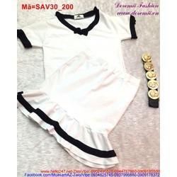 Set áo trắng viền đen chân váy đuôi SAV30