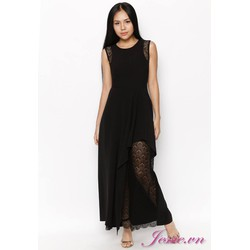 Đầm Maxi Đen Phối Ren Đen - Jessie Boutique