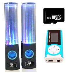 Bộ Loa nhạc nước 3D Đen kèm Máy  MP3 LCD Xanh dương và Thẻ 8GB