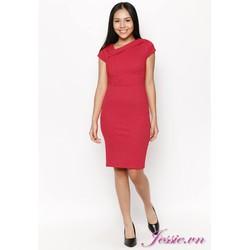 Đầm Ôm Thun Gân Đỏ, Cổ Xéo - Jessie Boutique