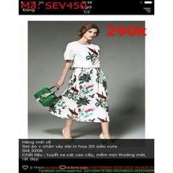 Sét áo kiểu ngắn tay và chân váy xòe in hoa 3d xinh đẹp SEV450