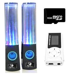 Bộ Loa nhạc nước 3D Đen kèm Máy nghe nhạc MP3 LCD Bạc và Thẻ 8GB