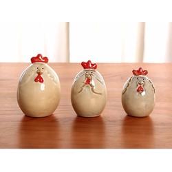 Bộ 3 tượng gà gốm trang trí sân vườn hay phòng khách .