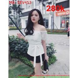 Sét áo kiểu bẹt vai rớt vai phối váy xòe ngắn xinh đẹp SEV453