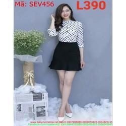 Sét áo sơ mi dài tay chấm bi và chân váy xòe xinh đẹp SEV456