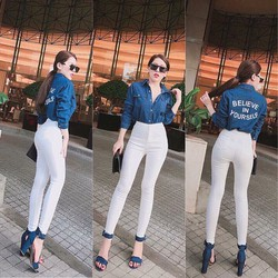 SET áo sơmi in chữ + quần legging