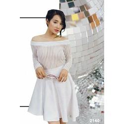 Đầm xòe trễ vai sọc trắng cao cấp