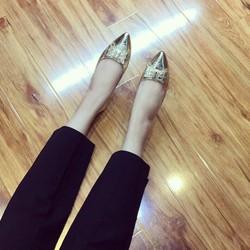 Giày búp bê nơ tán đinh lót trần chỉ