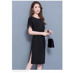 Đầm suông đen xẻ tà D9418