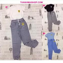 QA204 - Bộ áo tay ngắn thun mềm mịn + quần dài kaki thun ống túm