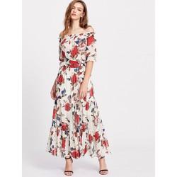 Đầm Maxi Hoa Tay Lỡ Trễ Vai